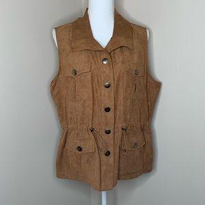 DRAPER'S & DAMON'S Brown Suede Button Up Vest
